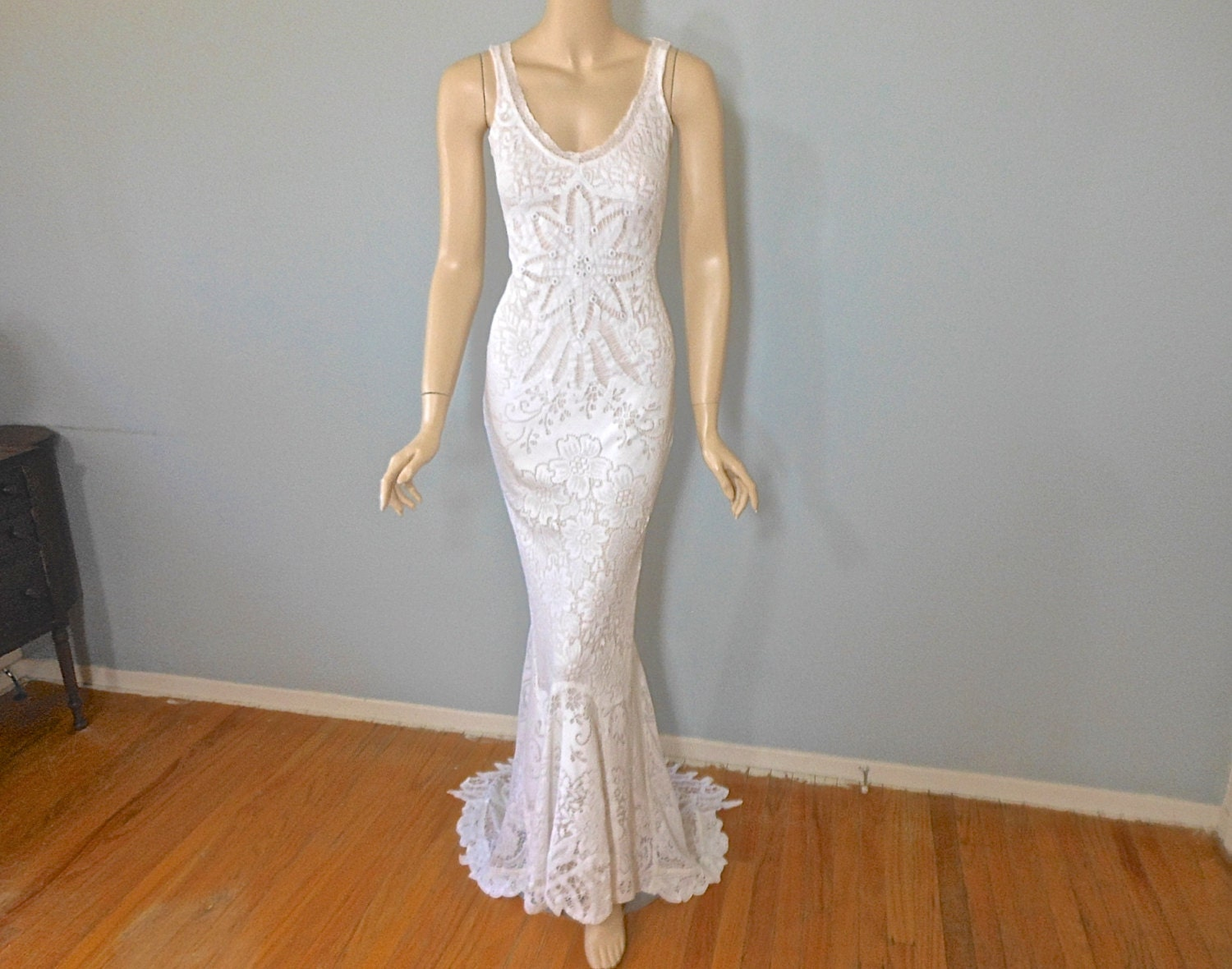 Crochet Lace Bohemian Wedding Dress Mermaid Wedding Dress
