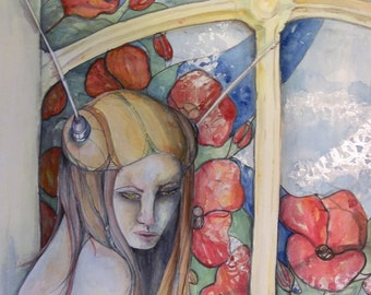 Tuned in and Tuned Out Original watercolor painting 16x20 inches Art girl poppy window stainded glass steampunk unframed