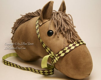 Stick horse Head, Chestnut Brown, MADE to ORDER, With or Without Stick, Choice of Bridle Colors