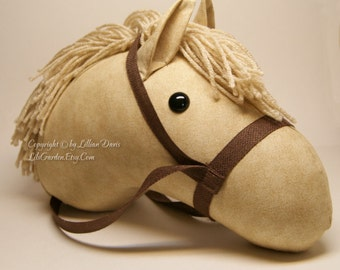 Stick Horse Head, Cream or Beige, with brown or green camouflage bridle, MADE to ORDER, With or Without Stick