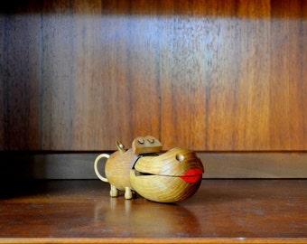 vintage zoo line wooden hippo figurine