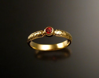 Orange Sapphire Wedding rink 14k Yellow Gold Victorian bezel set Padparadscha ring made to order in your size
