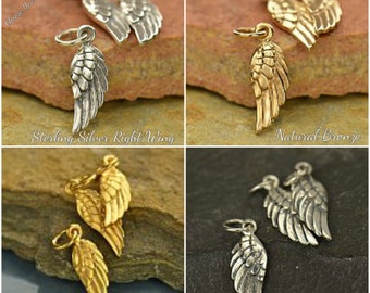 Angel Wing Charm - Ribbed Tiny - C872, CL930, Guardian Angel, Choose Your Favorite Style