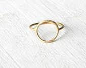 Open Circle ring in solid 14k gold/ Halo thin gold ring / Open circle gold ring / Eternity ring / Karma ring handmade
