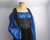 Royal blue peasant blouse shirt chemise for renaissance medieval faire gypsy pirate -ready to ship-