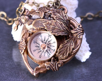 Steampunk Heart Necklace Compass Necklace Heart Necklace Working Compass Pendant