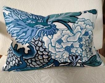 CHIANG MAI DRAGON  China Blue Linen Pillow Cover