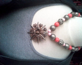 Vintage star-lion-crown brooch pendant with silver metal and coral stone beads - hangs 24 inch, chain 21 inch