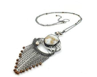 Wire wrapped statement necklace, sterling silver jewelry, jasper necklace,  fine wirework jewelry