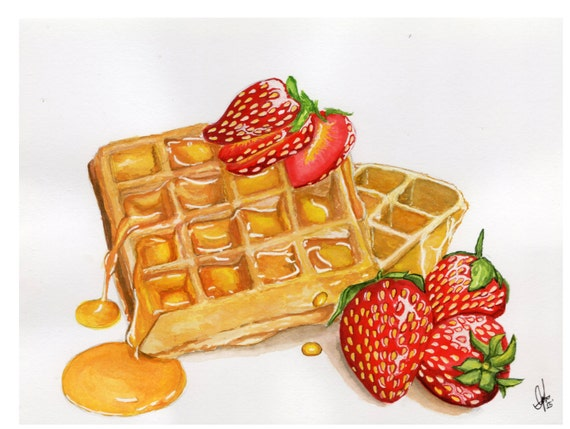 Waffle Original Watercolor Painting A5