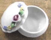 Small Flowered Trinket Box, German Porcelain Container with Lid (H3)