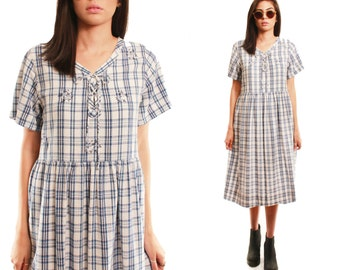 CORA 90s Soft Cotton Classic Blue White Plaid Slouchy Short Sleeve Babydoll Grunge Lace Up Mid Length Dress Medium