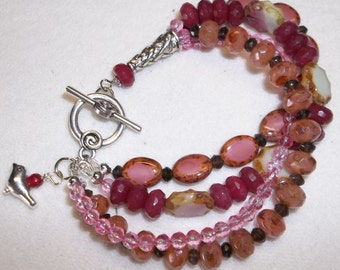 Rose Colored Multi-Strand Ruby & Czech Glass Beaded Bracelet