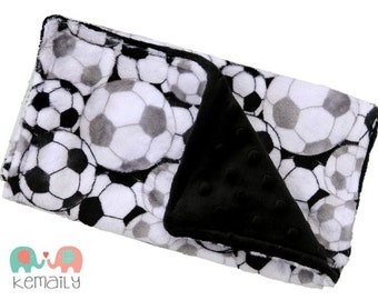 Black & White Soccer Ball Double Minky Burp Cloth, Burp Rag, Baby Shower Gift, New Mom Essentials, Feeding, Nursing, Burp Cloths