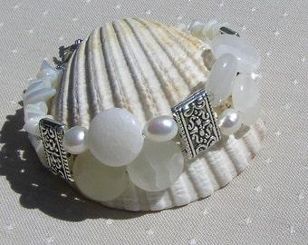 "Gemstone Crystal Bracelet, Cream Bowenite, White Mother of Pearl & White Freshwater Pearl  ""Snow Storm"", White Bracelet, Pearl Bracelet"