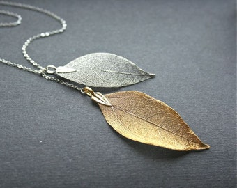Leaf Necklace, Real Leaf Lariat Necklace, Silver Leaf, Gold Leaf, Tow Leaves Necklace, Sterling Silver, Bridesmaids Gifts, Fall Wedding