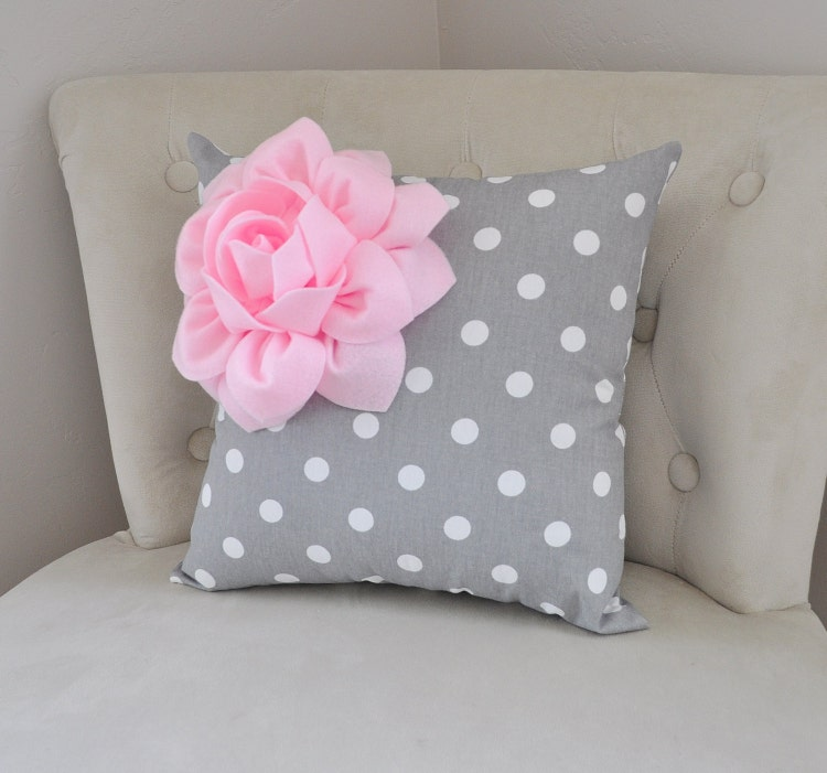 Light Pink Ruffle Throw Pillow : Decorative Pillow Light Pink Corner Dahlia on Gray and by bedbuggs