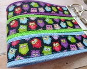 Ribbon Keychain Fob -- Multi-Color Owls -- Pick your color! -- 5 dollar fob