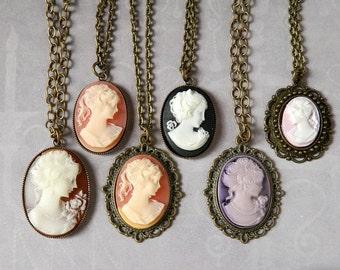 Woman Cameo Necklace Victorian Lady Cameo Pendant Purple Cameo Peach Cameo Downton Abbey Girl Cameo Carnelian Cameo Black Cameo Brass Gift