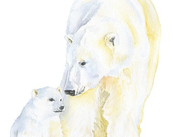 Polar Bears Watercolor Painting Giclee Reproduction 11x14 - Nursery Art Arctic Animals - Mother and Baby