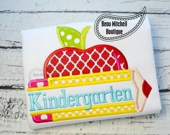 Kindergarten pencil apple applique