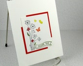 Birthday or Thank You Card Handmade Your Choice Wildflowers and Butterflies Happy Birthday or Thank You Greeting Card