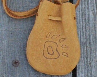 Leather neck bag with a bear paw totem , Leather amulet bag , Leather crystal bag