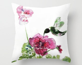 Bright Pink flower and hummingbird Watercolor PILLOW white pink green Art Home Decor Throw Pillow cover