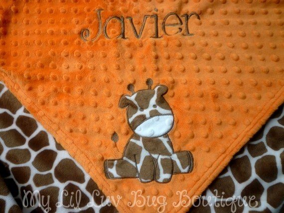 Personalized minky baby blanket- tan giraffe print and orange- large stroller blanket