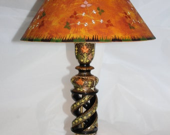 Lacoona Indian Summer - circa 1890-1920 Indian Kashmir lacquer lamp, custom painted lamp shade of Victorian/Aesthetic Movement inspiration