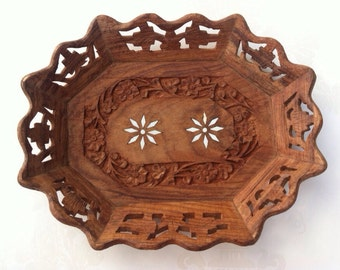Bone Inlay Tray Hand Carved  UNDER 20