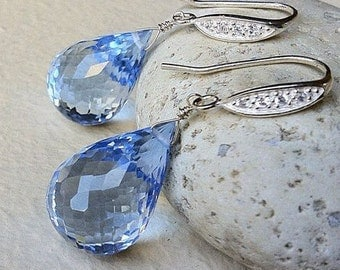 Luxury Blue Topaz Pave Earrings. Sterling silver or Gold fill