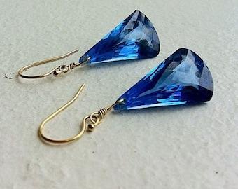 Luxury London Blue Topaz Gold Earrings. December Birthstone