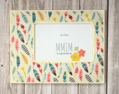 Feathers 4 x 6 Picture Frame, Photo Frame, Table Top Photo frames, Multi Colored, Unique Frames, colorful feathers, Tribal, Free Spirit