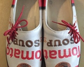 Icon Andy Warhol Pop Art Cambells Tomato Soup Shoes size 8 RESERVED for Kathleen
