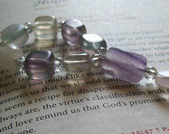 Prayer Bead Chaplet, Ecumenical Episcopal Anglican Protestant Non-Denominational, single 1 one week, Fluorite, Crystal, Maltese Cross