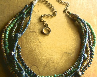 Multi-Strand Necklace Blue Green Yellow Czech Glass Bohemian Beaded Jewelry