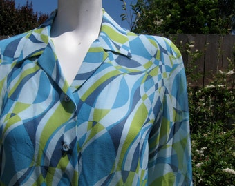 Turquoise Green Long Sleeve Geometric Print Chiffon Blouse 48