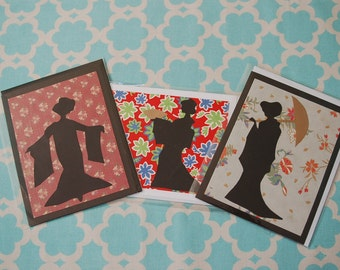 Set of Geisha Silhouette Greeting Cards