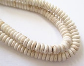 "Ivory White Rondelle Beads - White Turquoise Howlite Beads - Small Cream with Brown Matrix Gemstone - Jewelry Making - 6mmx3mm - 16"" Strand"