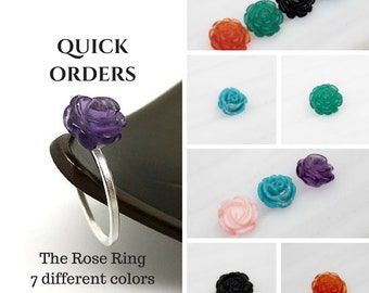 QUICK ORDER - The Rose Ring in Sterling Silver - Choose the Rose Carving
