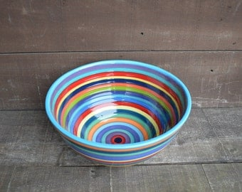 Crazy Rainbow Stripes Extra Large Hand Painted Serving Bowl - Colorful Striped Pottery - Dinnerware