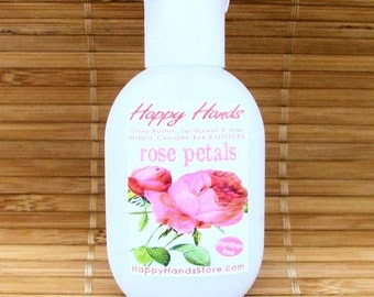 Rose Petals Scented Hand Cream for Knitters - Refillable 1oz Tottle - HAPPY HANDS Shea Butter Hand Lotion