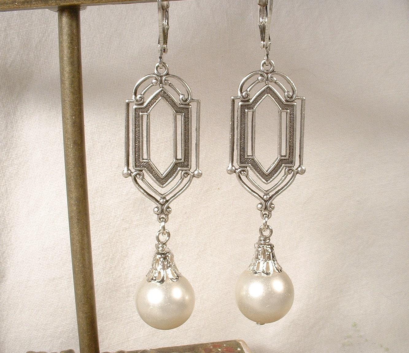 art deco vintage ivory pearl dangle earrings long antique. Black Bedroom Furniture Sets. Home Design Ideas