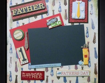 MY AMAZING DAD Premade Memory Album Page (Gallery Wood Shadow Box Frame Sold Separately)