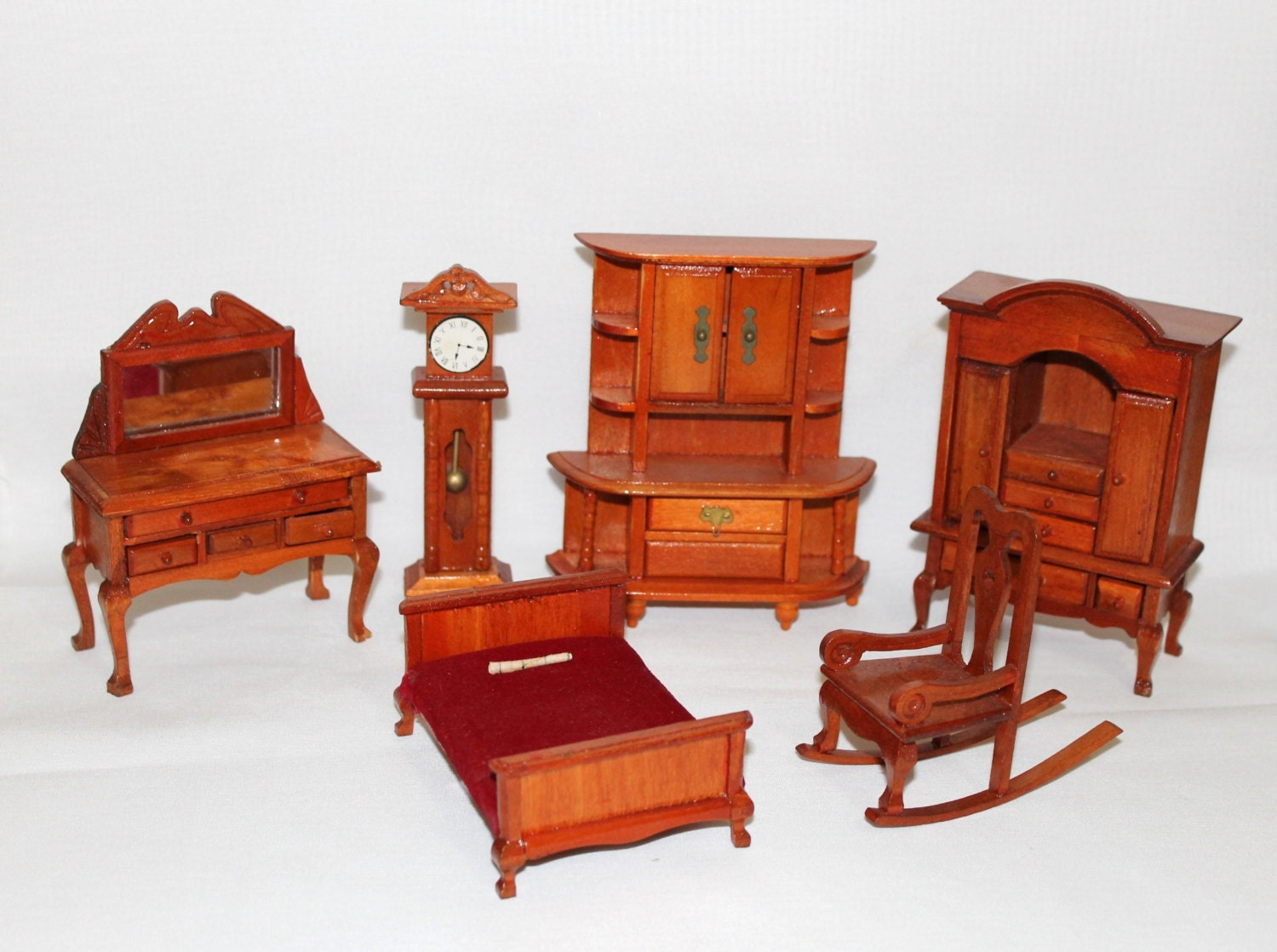 Vintage wooden dollhouse furniture lot 6 piece lot antique Dollhouse wooden furniture