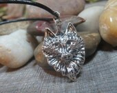 Wolf Head Pendant, Wolf Necklace, Wolf Totem, Witchcraft, Wiccan Jewelry, Animal Guide Talisman,