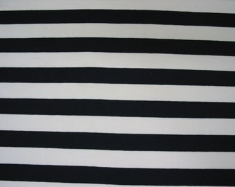 Cotton Jersey Knit Fabric - Striped Navy Blue and White