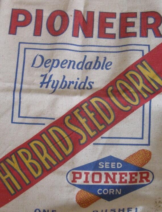 Vintage Pioneer Hybrid Seed Corn Grain Bag Sack Feedsack