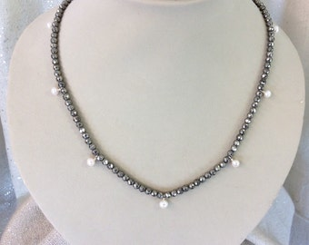 Pyrite and pearl station necklace
